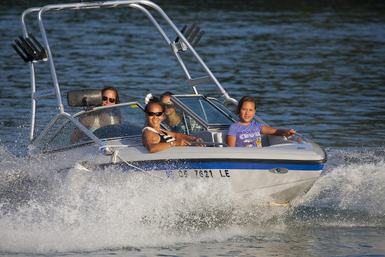Eight passenger wakeboard boat