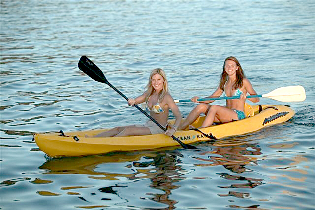 Kayaks offer both fun and exercise, rent one to augment your vacation enjoyment.